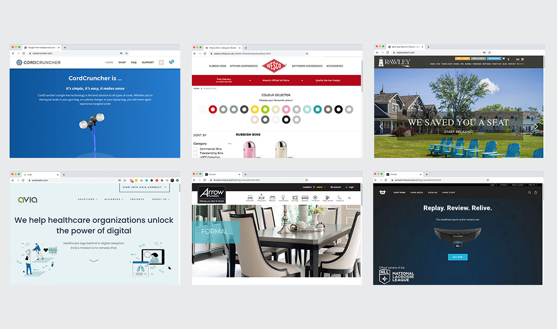 website projects worked on